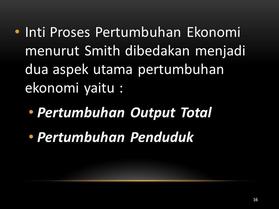• Inti Proses Pertumbuhan Ekonomi menurut Smith dibedakan menjadi dua aspek utama pertumbuhan ekonomi yaitu : • Pertumbuhan Output Total • Pertumbuhan