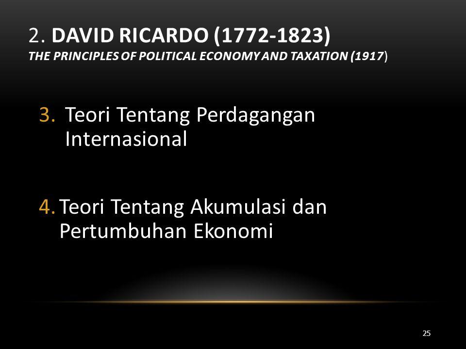 2. DAVID RICARDO (1772-1823) THE PRINCIPLES OF POLITICAL ECONOMY AND TAXATION (1917) 3.Teori Tentang Perdagangan Internasional 4.Teori Tentang Akumula