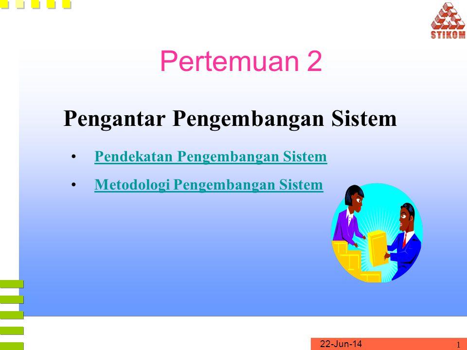 22-Jun-14 1 Pertemuan 2 Pengantar Pengembangan Sistem •Pendekatan Pengembangan SistemPendekatan Pengembangan Sistem •Metodologi Pengembangan SistemMet