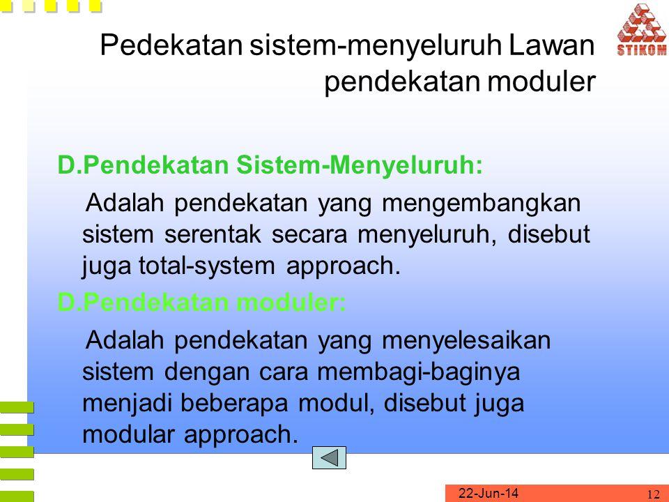 22-Jun-14 12 Pedekatan sistem-menyeluruh Lawan pendekatan moduler D.Pendekatan Sistem-Menyeluruh: Adalah pendekatan yang mengembangkan sistem serentak