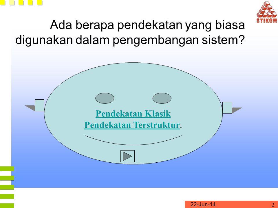 22-Jun-14 2 Ada berapa pendekatan yang biasa digunakan dalam pengembangan sistem? Pendekatan Klasik Pendekatan TerstrukturPendekatan Terstruktur.