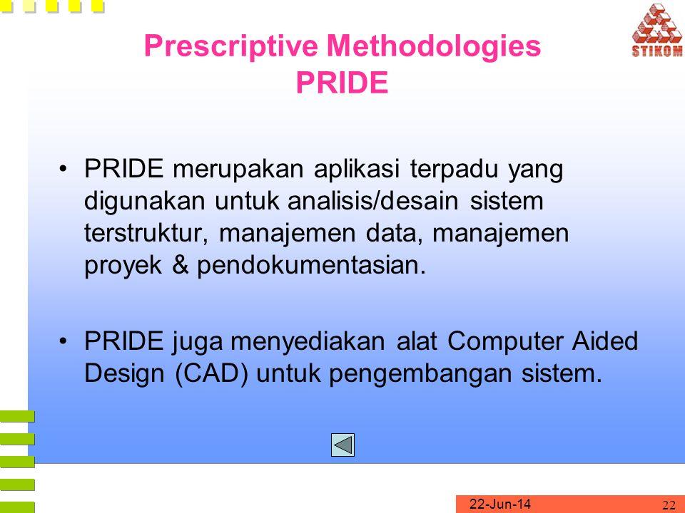 22-Jun-14 22 Prescriptive Methodologies PRIDE •PRIDE merupakan aplikasi terpadu yang digunakan untuk analisis/desain sistem terstruktur, manajemen dat