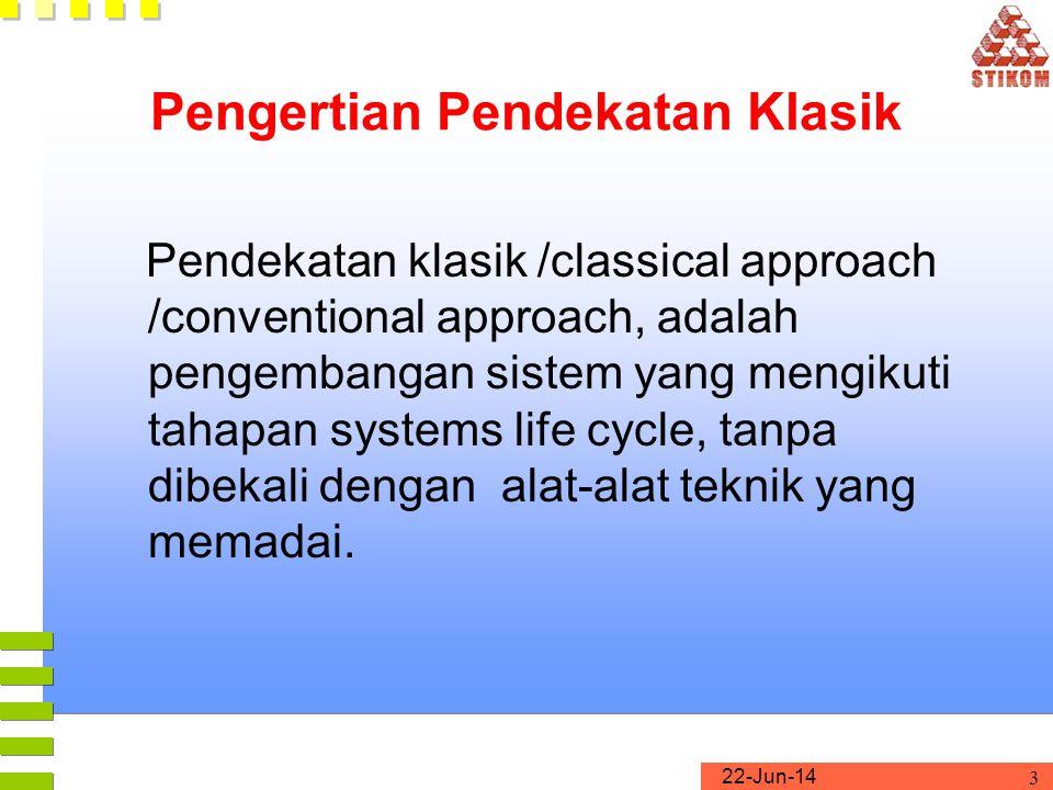 22-Jun-14 3 Pengertian Pendekatan Klasik Pendekatan klasik /classical approach /conventional approach, adalah pengembangan sistem yang mengikuti tahap