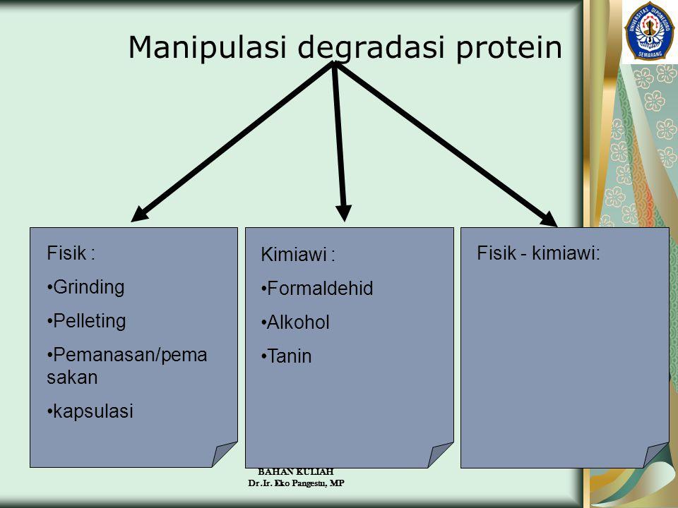 BAHAN KULIAH Dr.Ir. Eko Pangestu, MP Manipulasi degradasi protein Fisik : •Grinding •Pelleting •Pemanasan/pema sakan •kapsulasi Kimiawi : •Formaldehid