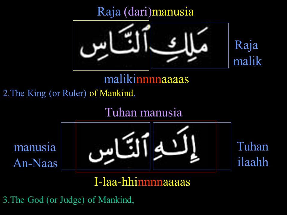 malikinnnnaaaas Raja (dari)manusia I-laa-hhinnnnaaaas Tuhan manusia Raja Tuhan manusia malik ilaahh An-Naas 2.The King (or Ruler) of Mankind, 3.The Go