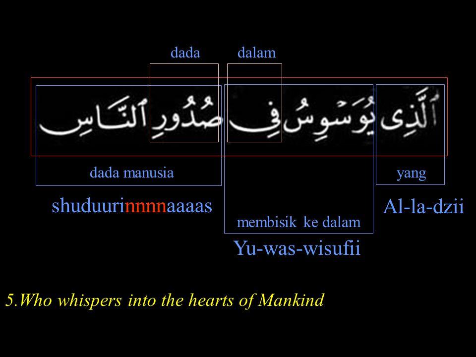 dada dada manusia membisik ke dalam yang shuduurinnnnaaaas Yu-was-wisufii Al-la-dzii dalam 5.Who whispers into the hearts of Mankind
