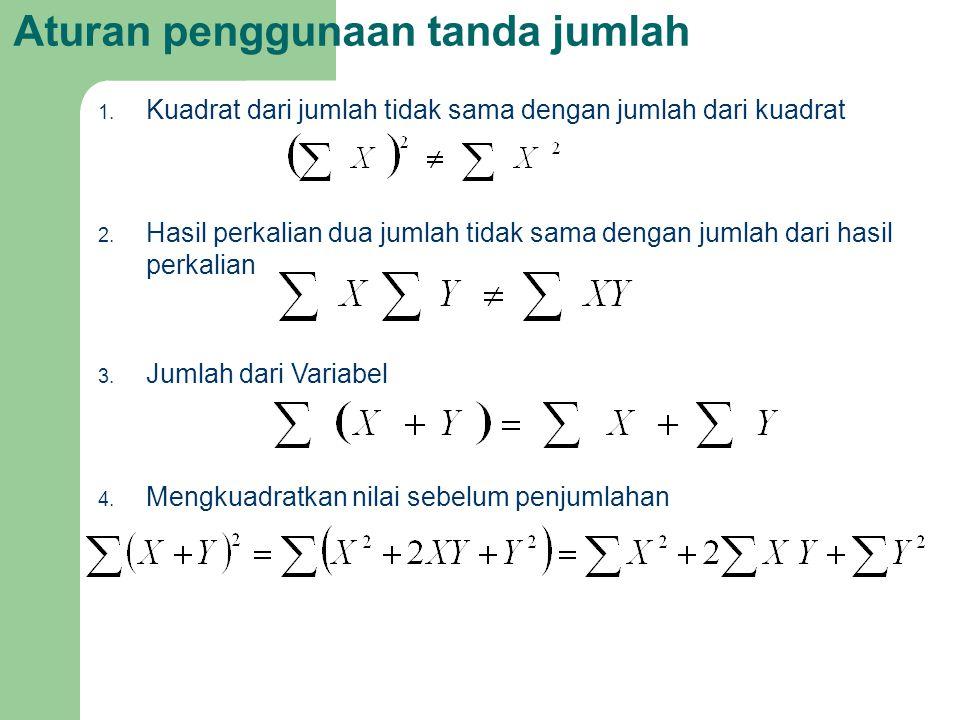 Aturan penggunaan tanda jumlah 1. Kuadrat dari jumlah tidak sama dengan jumlah dari kuadrat 2. Hasil perkalian dua jumlah tidak sama dengan jumlah dar
