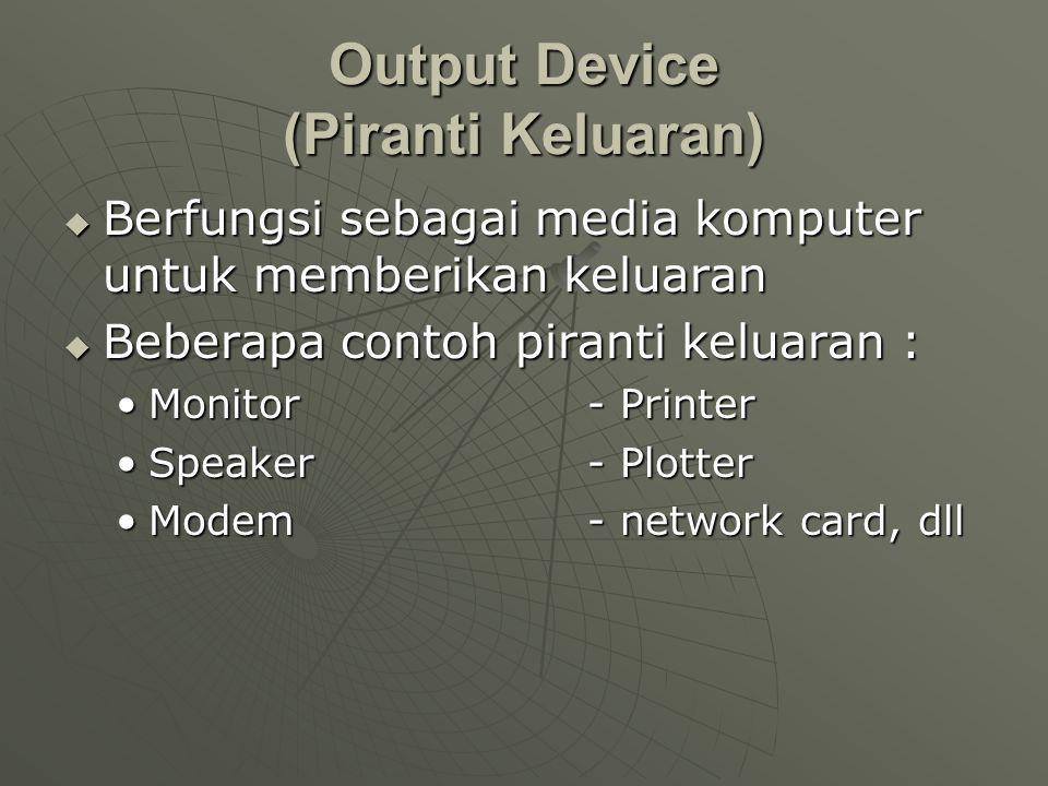 Output Device (Piranti Keluaran)  Berfungsi sebagai media komputer untuk memberikan keluaran  Beberapa contoh piranti keluaran : •Monitor - Printer •Speaker - Plotter •Modem - network card, dll