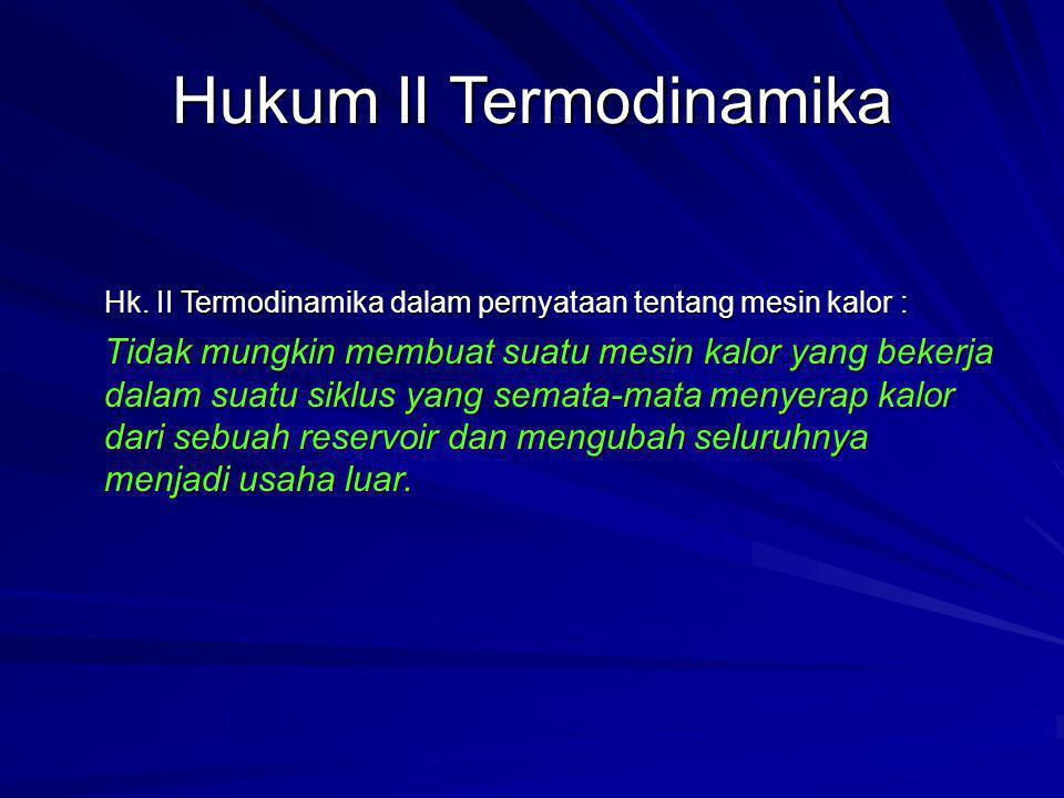 Hukum II Termodinamika Hk. II Termodinamika dalam pernyataan tentang mesin kalor : Tidak mungkin membuat suatu mesin kalor yang bekerja dalam suatu si