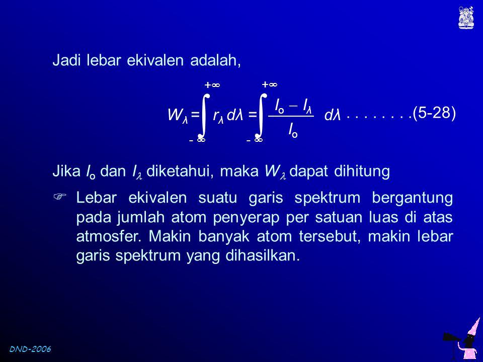 DND-2006 Jadi lebar ekivalen adalah, W λ = r λ dλ = dλ Io  IλIo  Iλ IoIo  ++ -   ++........(5-28) Jika I o dan I  diketahui, maka W  dapat