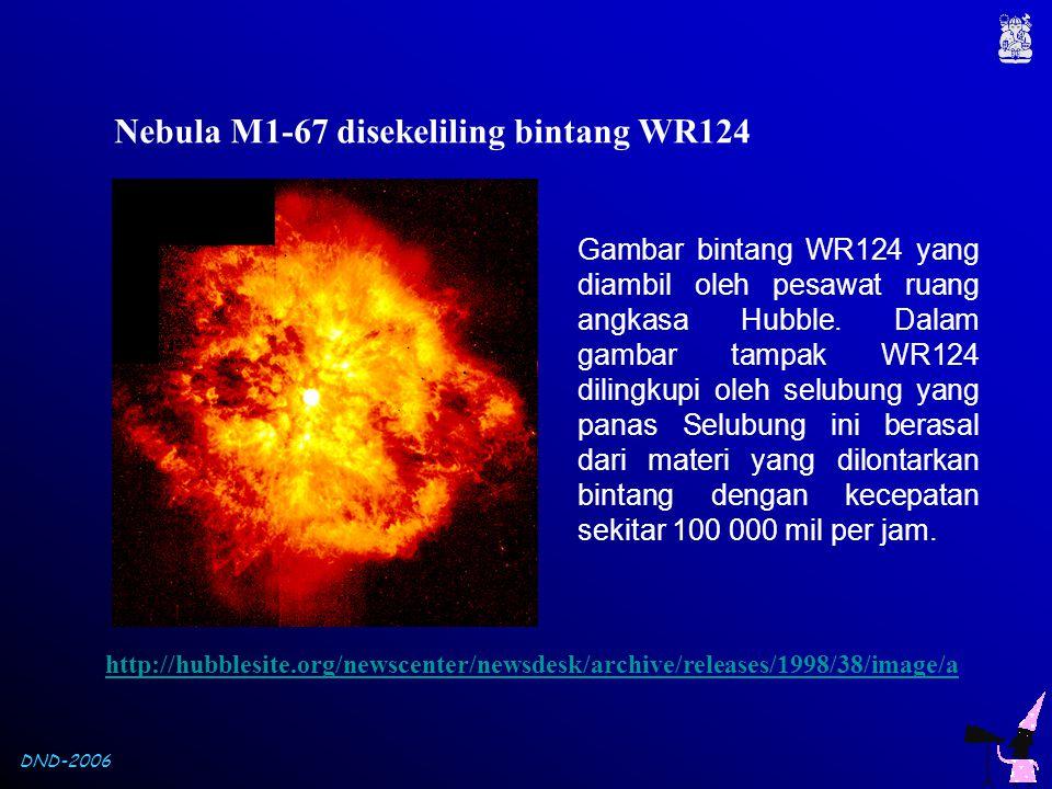 DND-2006 Nebula M1-67 disekeliling bintang WR124 Gambar bintang WR124 yang diambil oleh pesawat ruang angkasa Hubble. Dalam gambar tampak WR124 diling