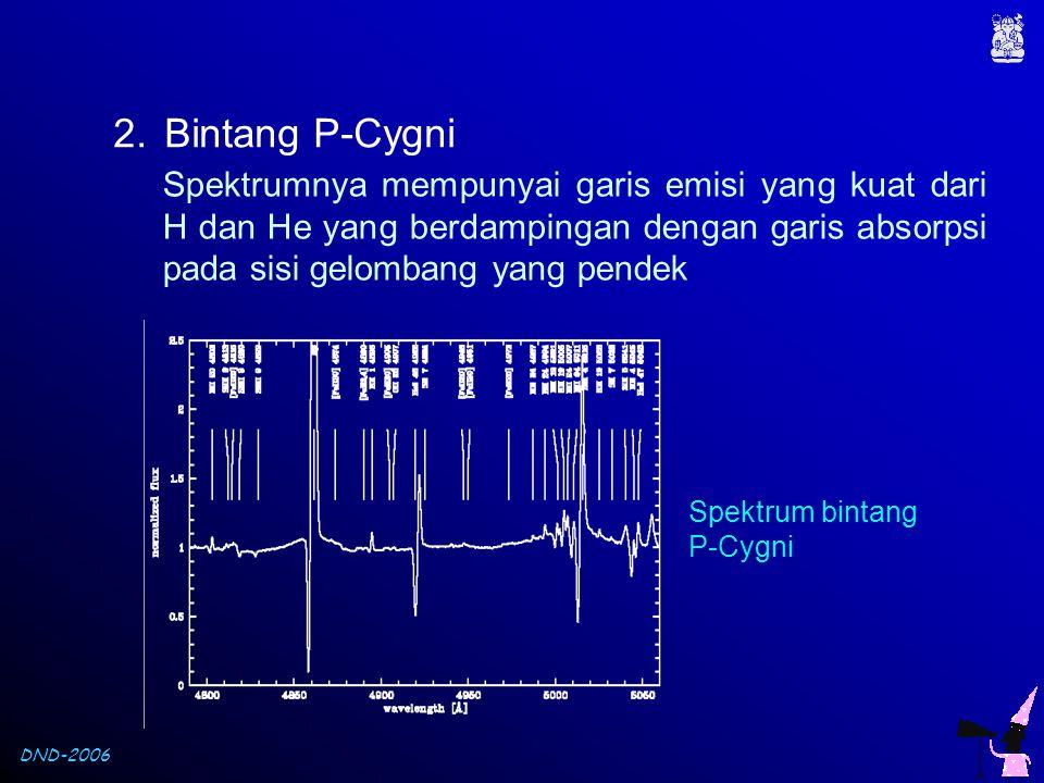 DND-2006 2.Bintang P-Cygni Spektrumnya mempunyai garis emisi yang kuat dari H dan He yang berdampingan dengan garis absorpsi pada sisi gelombang yang