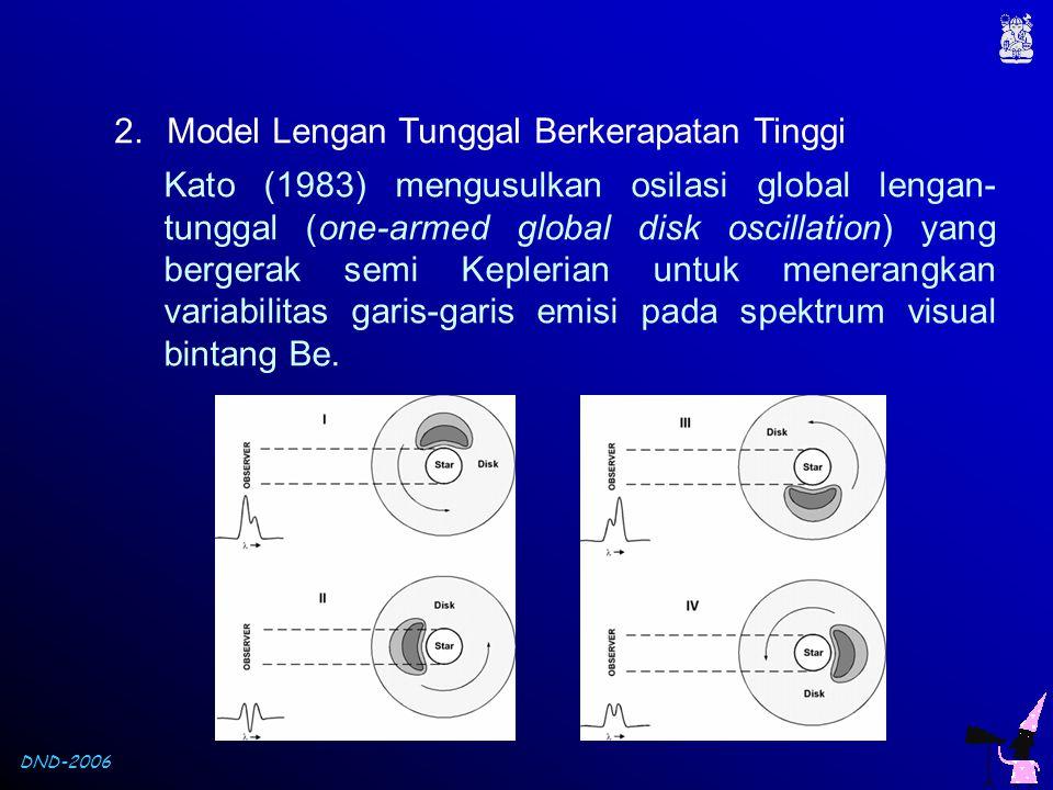 DND-2006 2.Model Lengan Tunggal Berkerapatan Tinggi Kato (1983) mengusulkan osilasi global lengan- tunggal (one-armed global disk oscillation) yang be