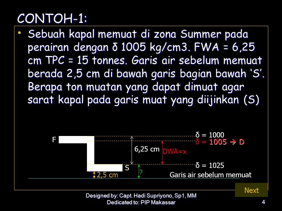 Designed by: Capt. Hadi Supriyono, Sp1, MM Dedicated to: PIP Makassar4 CONTOH-1: • Sebuah kapal memuat di zona Summer pada perairan dengan δ 1005 kg/c