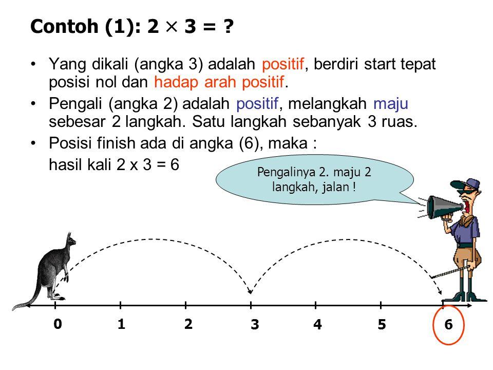 Contoh (1): 2  3 = ? 02 34 1 56 •Yang dikali (angka 3) adalah positif, berdiri start tepat posisi nol dan hadap arah positif. •Pengali (angka 2) adal
