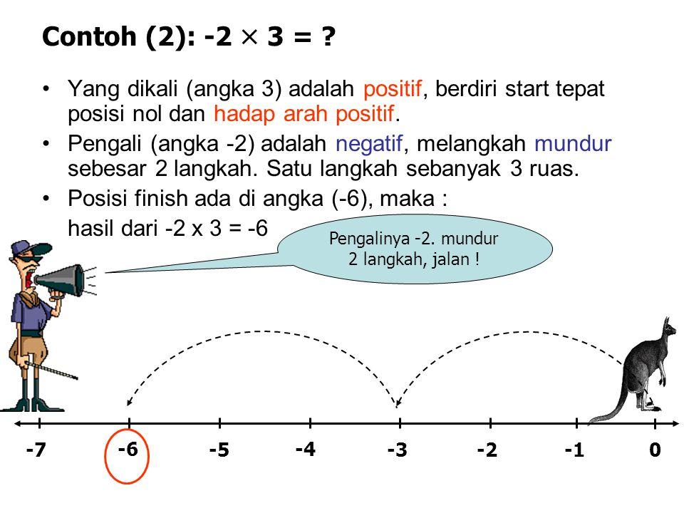 Contoh (2): -2  3 = ? •Yang dikali (angka 3) adalah positif, berdiri start tepat posisi nol dan hadap arah positif. •Pengali (angka -2) adalah negati