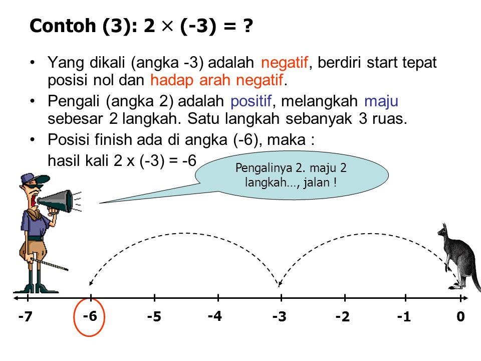 Contoh (3): 2  (-3) = ? •Yang dikali (angka -3) adalah negatif, berdiri start tepat posisi nol dan hadap arah negatif. •Pengali (angka 2) adalah posi