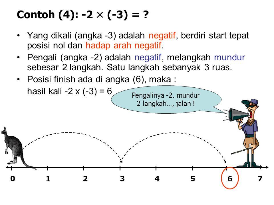 Contoh (4): -2  (-3) = ? •Yang dikali (angka -3) adalah negatif, berdiri start tepat posisi nol dan hadap arah negatif. •Pengali (angka -2) adalah ne