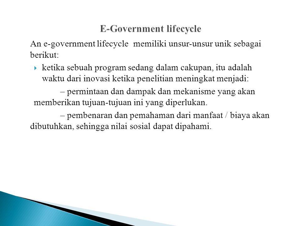 An e-government lifecycle memiliki unsur-unsur unik sebagai berikut:  ketika sebuah program sedang dalam cakupan, itu adalah waktu dari inovasi ketika penelitian meningkat menjadi: – permintaan dan dampak dan mekanisme yang akan memberikan tujuan-tujuan ini yang diperlukan.