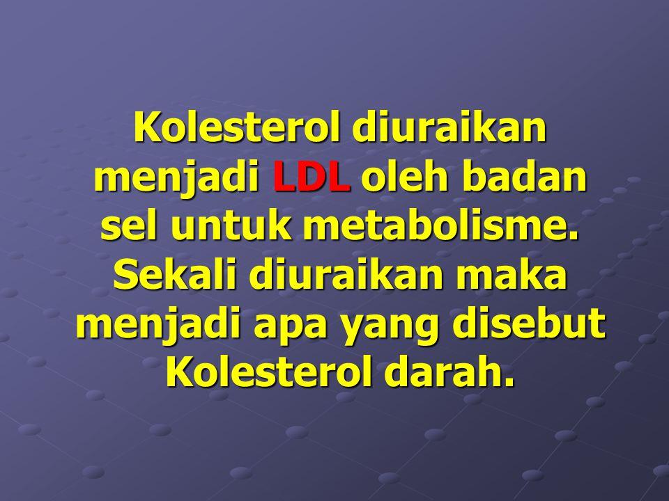 Kolesterol diuraikan menjadi LDL LDL oleh badan sel untuk metabolisme.
