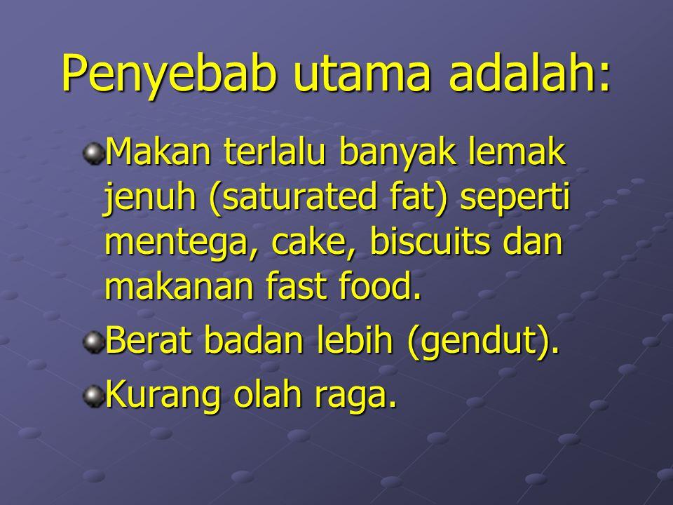 Penyebab utama adalah: Makan terlalu banyak lemak jenuh (saturated fat) seperti mentega, cake, biscuits dan makanan fast food.