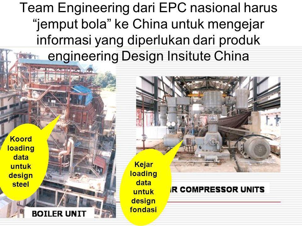 16 Team Engineering dari EPC nasional harus jemput bola ke China untuk mengejar informasi yang diperlukan dari produk engineering Design Insitute China Kejar loading data untuk design fondasi Koord loading data untuk design steel