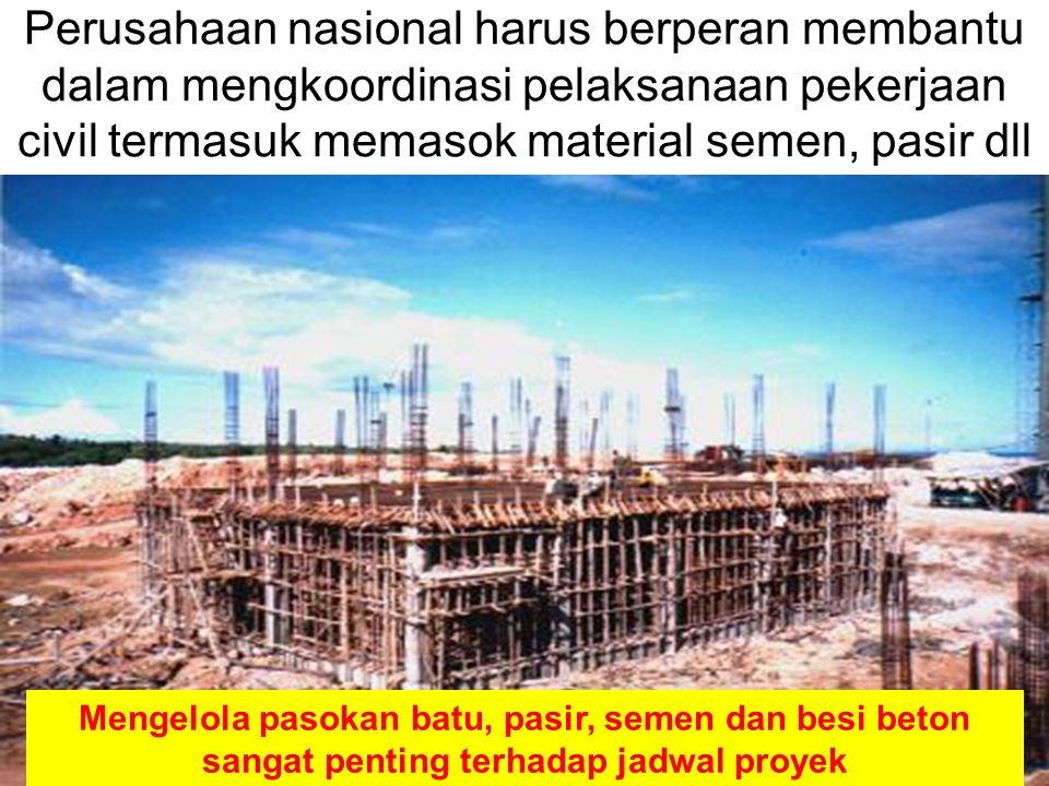 22 Perusahaan nasional harus berperan membantu dalam mengkoordinasi pelaksanaan pekerjaan civil termasuk memasok material semen, pasir dll Mengelola p