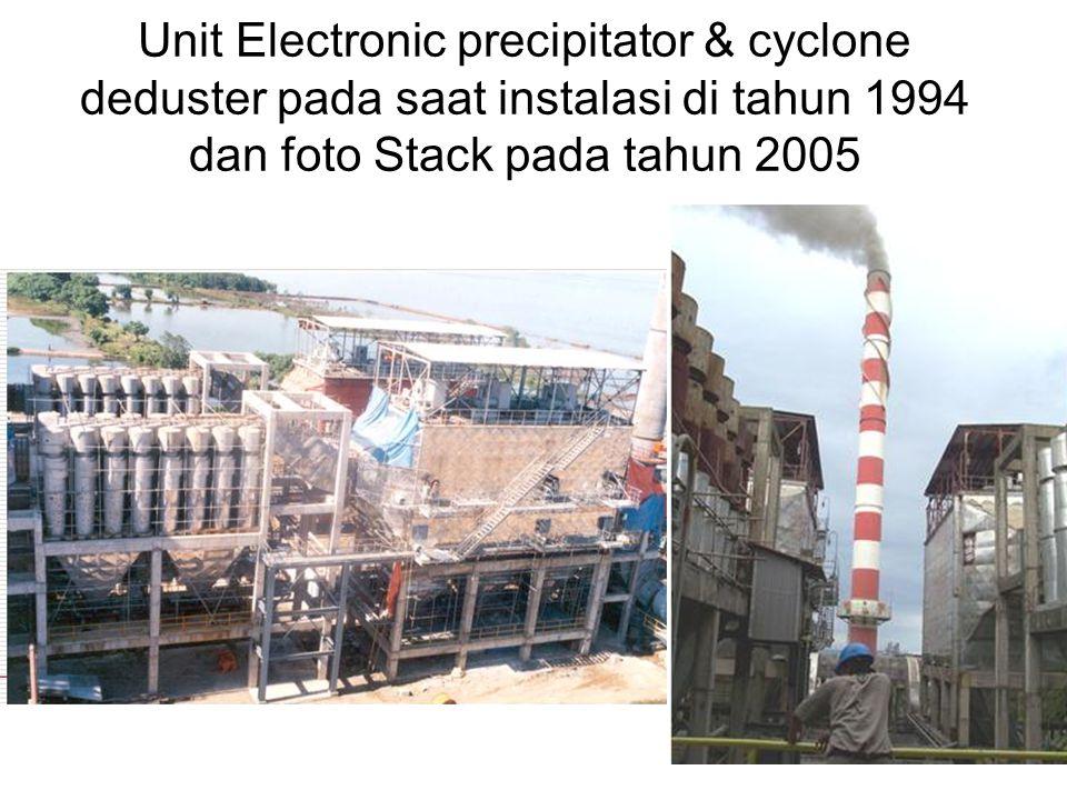 Unit Electronic precipitator & cyclone deduster pada saat instalasi di tahun 1994 dan foto Stack pada tahun 2005