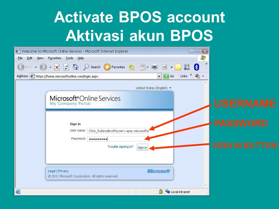 Activate BPOS account Aktivasi akun BPOS USERNAME PASSWORD SIGN IN BUTTON