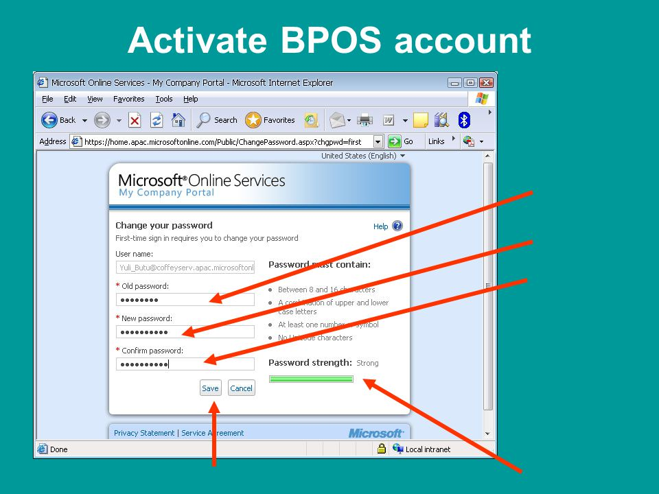 Activate BPOS account