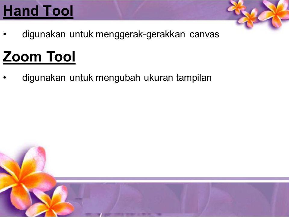 Hand Tool •digunakan untuk menggerak-gerakkan canvas Zoom Tool •digunakan untuk mengubah ukuran tampilan