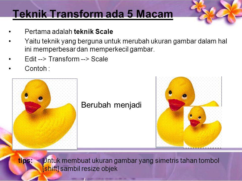 Teknik Transform ada 5 Macam •Pertama adalah teknik Scale •Yaitu teknik yang berguna untuk merubah ukuran gambar dalam hal ini memperbesar dan memperkecil gambar.