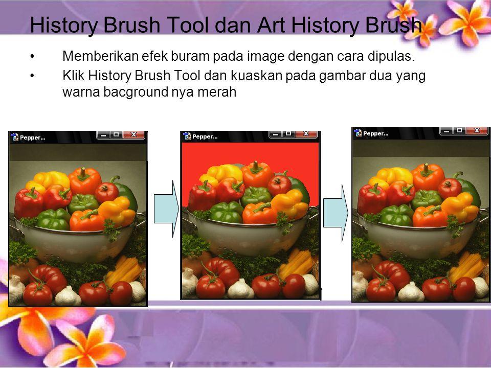History Brush Tool dan Art History Brush •Memberikan efek buram pada image dengan cara dipulas.