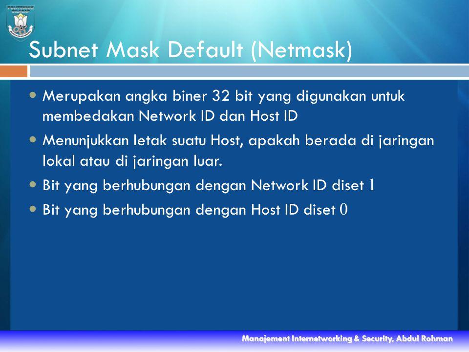 Subnet Mask Default (Netmask)  Merupakan angka biner 32 bit yang digunakan untuk membedakan Network ID dan Host ID  Menunjukkan letak suatu Host, apakah berada di jaringan lokal atau di jaringan luar.