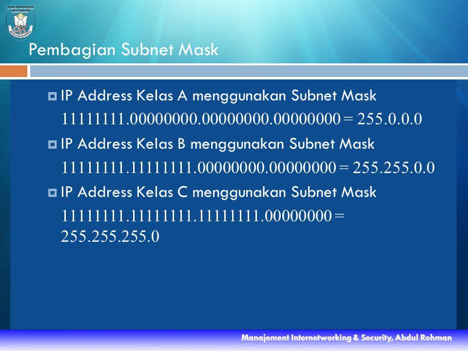 Pembagian Subnet Mask  IP Address Kelas A menggunakan Subnet Mask 11111111.00000000.00000000.00000000 = 255.0.0.0  IP Address Kelas B menggunakan Subnet Mask 11111111.11111111.00000000.00000000 = 255.255.0.0  IP Address Kelas C menggunakan Subnet Mask 11111111.11111111.11111111.00000000 = 255.255.255.0 Manajement Internetworking & Security, Abdul Rohman