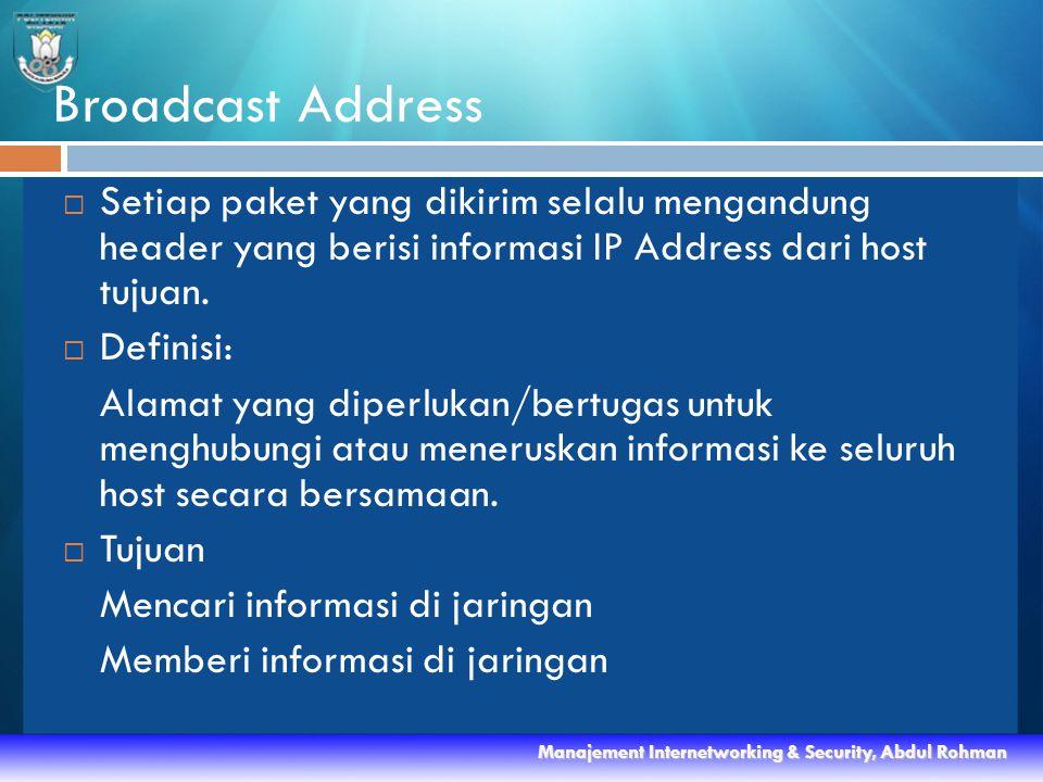  Setiap paket yang dikirim selalu mengandung header yang berisi informasi IP Address dari host tujuan.