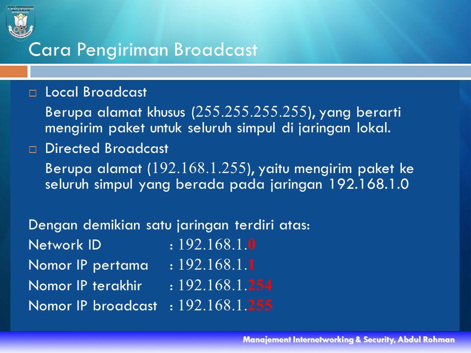Cara Pengiriman Broadcast  Local Broadcast Berupa alamat khusus ( 255.255.255.255 ), yang berarti mengirim paket untuk seluruh simpul di jaringan lokal.