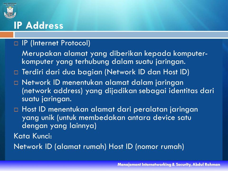 IP Address  IP (Internet Protocol) Merupakan alamat yang diberikan kepada komputer- komputer yang terhubung dalam suatu jaringan.