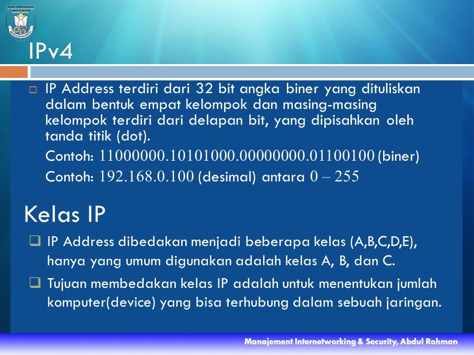 IPv4  IP Address terdiri dari 32 bit angka biner yang dituliskan dalam bentuk empat kelompok dan masing-masing kelompok terdiri dari delapan bit, yang dipisahkan oleh tanda titik (dot).