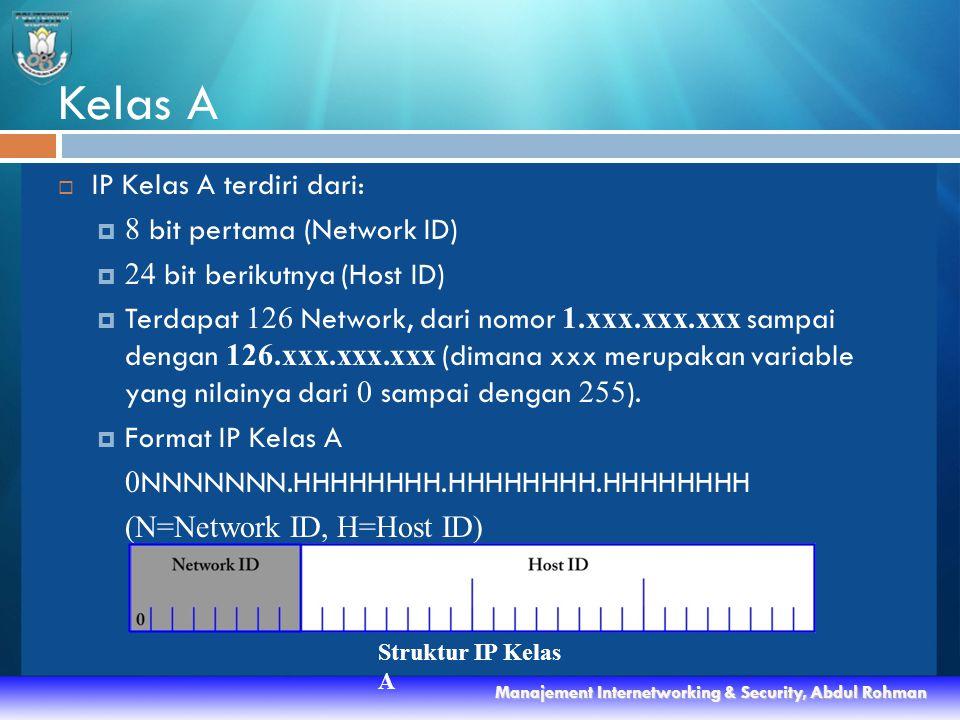 Kelas A  IP Kelas A terdiri dari:  8 bit pertama (Network ID)  24 bit berikutnya (Host ID)  Terdapat 126 Network, dari nomor 1.xxx.xxx.xxx sampai dengan 126.xxx.xxx.xxx (dimana xxx merupakan variable yang nilainya dari 0 sampai dengan 255 ).