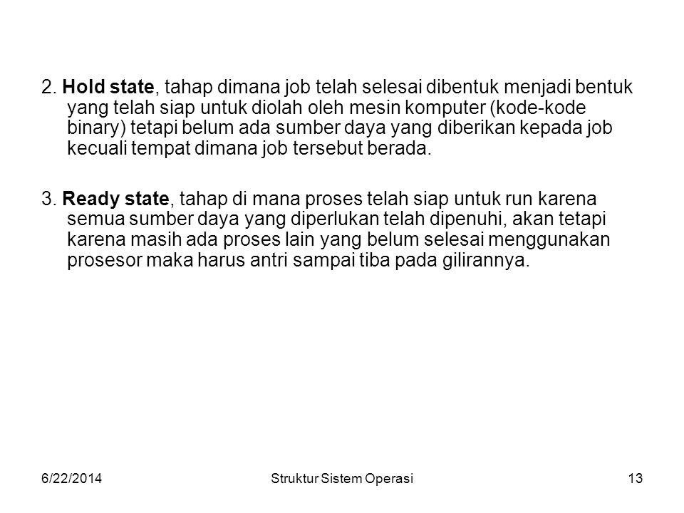 6/22/2014Struktur Sistem Operasi13 2.
