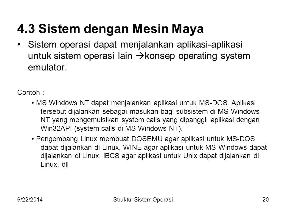 6/22/2014Struktur Sistem Operasi20 4.3 Sistem dengan Mesin Maya •Sistem operasi dapat menjalankan aplikasi-aplikasi untuk sistem operasi lain  konsep operating system emulator.