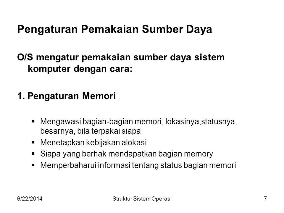 6/22/2014Struktur Sistem Operasi8 2.