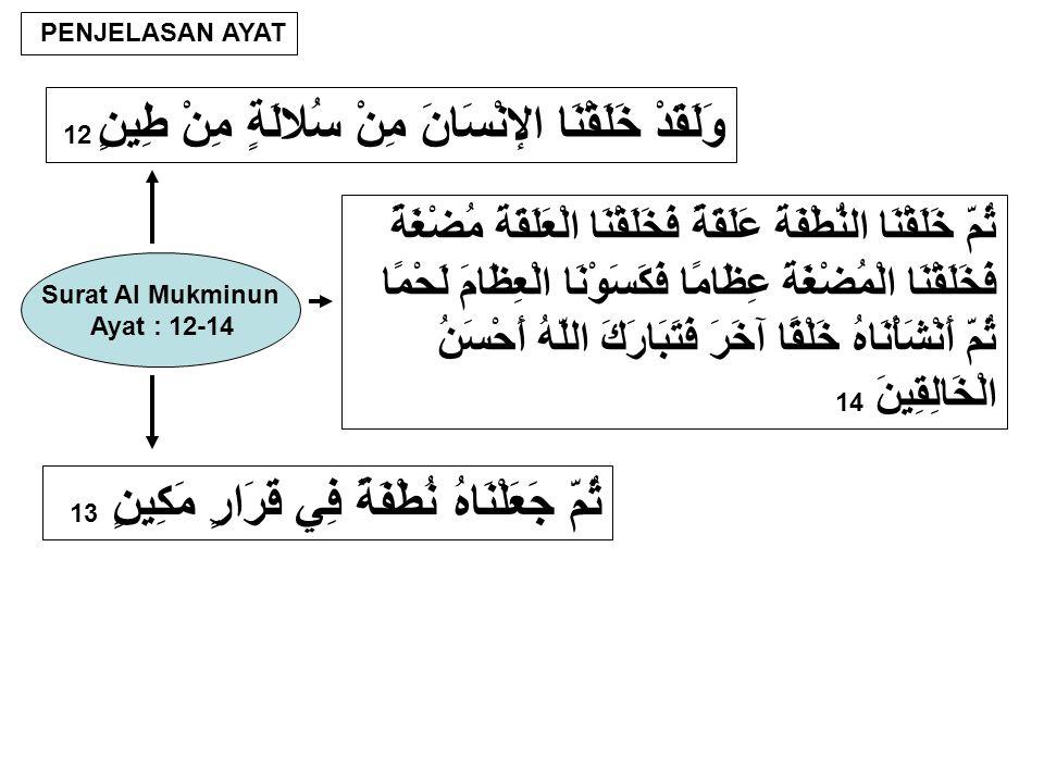 PENJELASAN AYAT وَلَقَدْ خَلَقْنَا الإنْسَانَ مِنْ سُلالَةٍ مِنْ طِينٍ 12 Surat Al Mukminun Ayat : 12-14 ثُمَّ جَعَلْنَاهُ نُطْفَةً فِي قَرَارٍ مَكِينٍ 13 ثُمَّ خَلَقْنَا النُّطْفَةَ عَلَقَةً فَخَلَقْنَا الْعَلَقَةَ مُضْغَةً فَخَلَقْنَا الْمُضْغَةَ عِظَامًا فَكَسَوْنَا الْعِظَامَ لَحْمًا ثُمَّ أَنْشَأْنَاهُ خَلْقًا آخَرَ فَتَبَارَكَ اللَّهُ أَحْسَنُ الْخَالِقِينَ 14