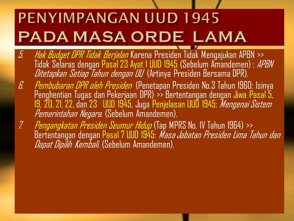 3.Pimpinan MPR Diangkat Menjadi Menteri, >> Tidak Selaras dengan Ketentuan Pasal 1 Ayat 2 UUD 1945 : MPR Sebagai Pemegang Kedaulatan Rakyat dan Pasal