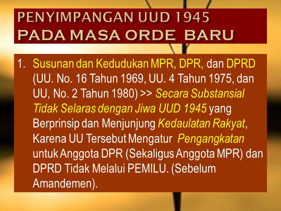 5.Hak Budget DPR Tidak Berjalan Karena Presiden Tidak Mengajukan APBN >> Tidak Selaras dengan Pasal 23 Ayat 1 UUD 1945 (Sebelum Amandemen) : APBN Dite