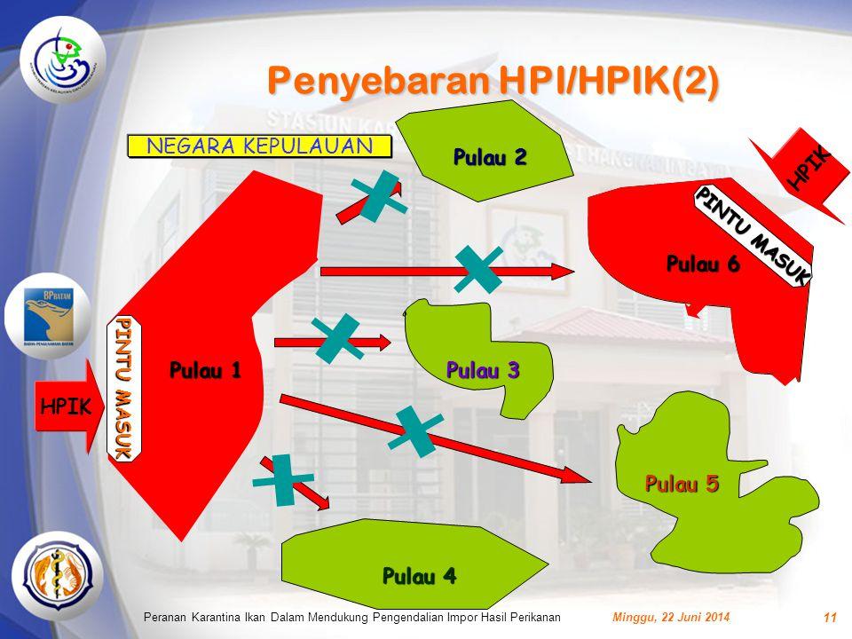 Penyebaran HPI/HPIK(2) Minggu, 22 Juni 2014Peranan Karantina Ikan Dalam Mendukung Pengendalian Impor Hasil Perikanan 11 NEGARA KEPULAUAN Pulau 2 Pulau 3 Pulau 4 Pulau 5 HPIK PINTU MASUK Pulau 1 HPIK Pulau 6 PINTU MASUK