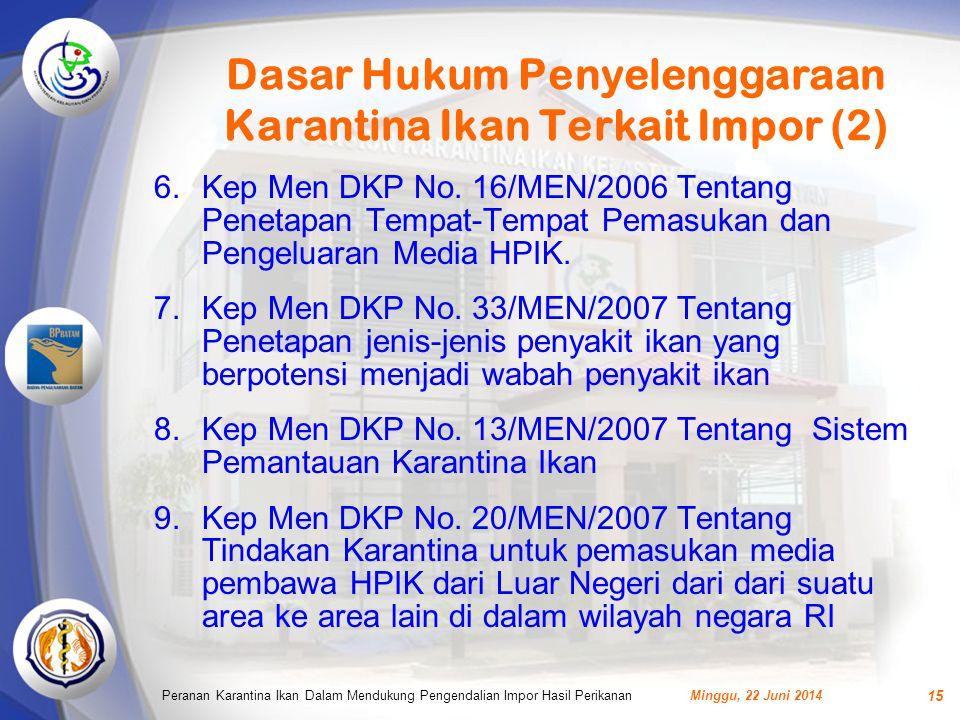Dasar Hukum Penyelenggaraan Karantina Ikan Terkait Impor (2) 6.