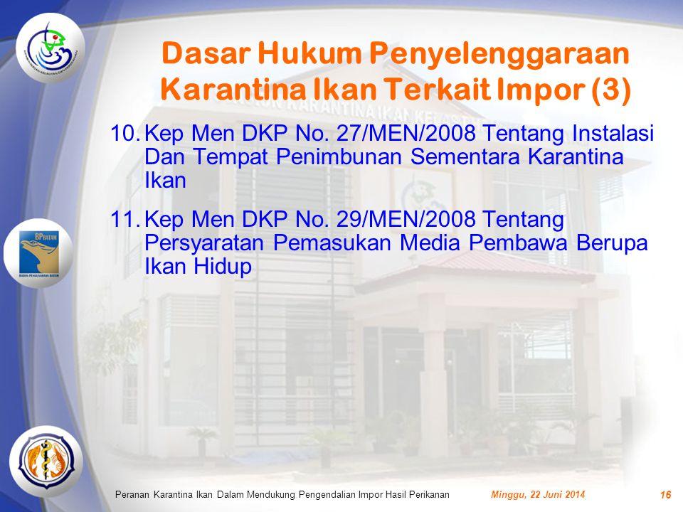 Dasar Hukum Penyelenggaraan Karantina Ikan Terkait Impor (3) 10.Kep Men DKP No.