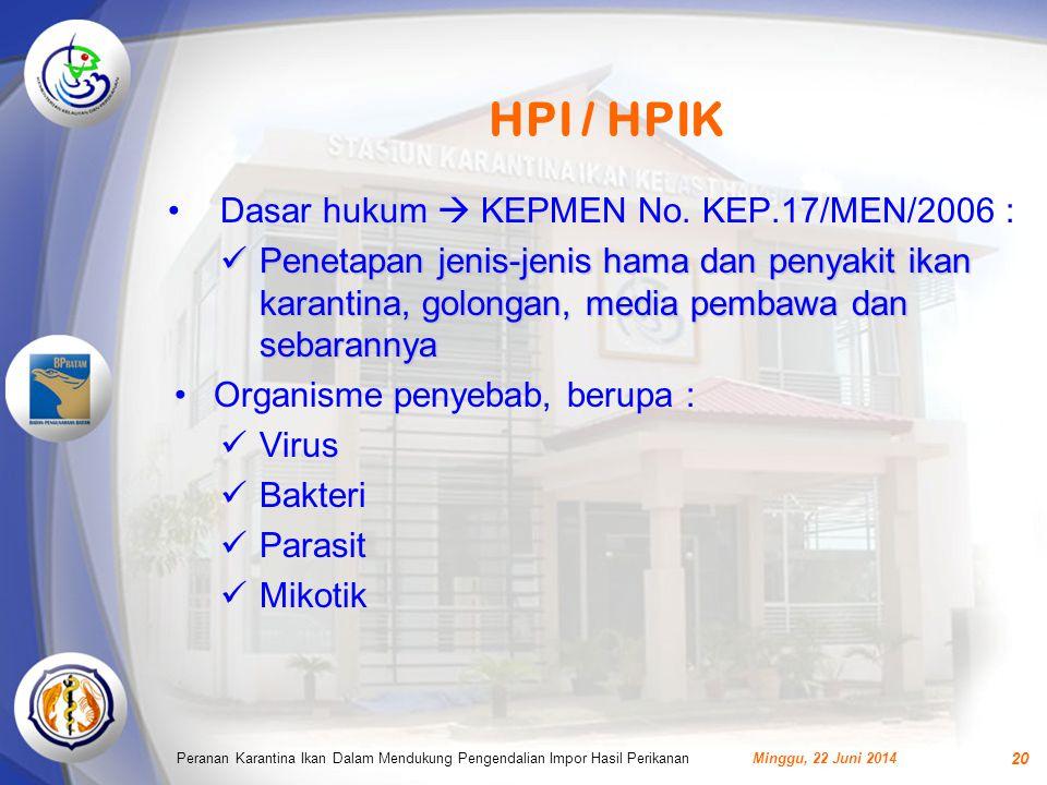 HPI / HPIK •Dasar hukum  KEPMEN No.